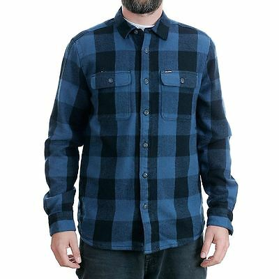 Volcom Enders Long Sleeved Lined Flannel Shirt Blue Black New BNWT Free Delivery