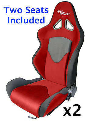 Pair of Red and Black Reclining Sports Racing Bucket Seats With Sliding Rails x2