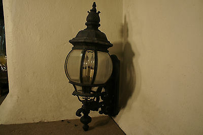 Ornate Antique Exterior Sconce, Quality Construction, Curved Beveled Glass