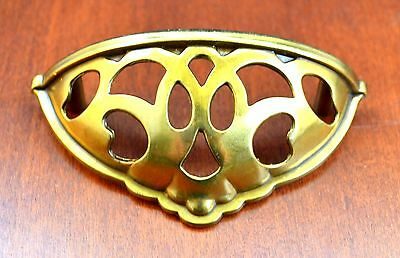 "Mid-Century Keller Brass KBC43856 Brass Open Cup Furniture Pull Holes 3"" Apart"