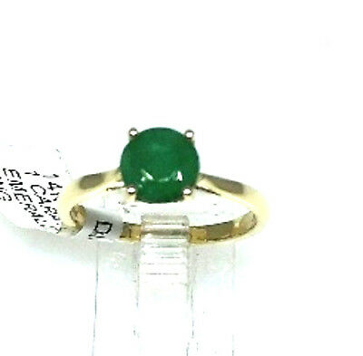 Authentic Emerald solitare round 1tcw engagement ring 14k yellow gold sz 7 NWT