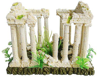 Ellie-Bo Temple Ruins Handpainted Polyresin Aquarium Ornament, 27 x 21 x 19.5 cm