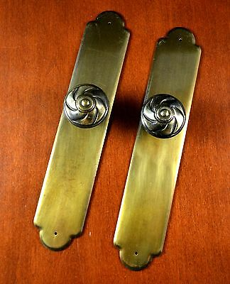 """2 Antique Gold KEELER BRASS Back Plates & Knobs LARGE Armoire Pulls 8"""" Long"""