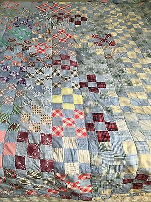 Antique 1930-40s Postage Stamp,9 Patch Primitive Quilt Feed sack Patchwork Quilt
