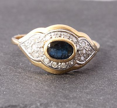 Vintage 18ct Yellow Gold Blue Sapphire & Diamond Art Deco Style Ring. Size P 1/2