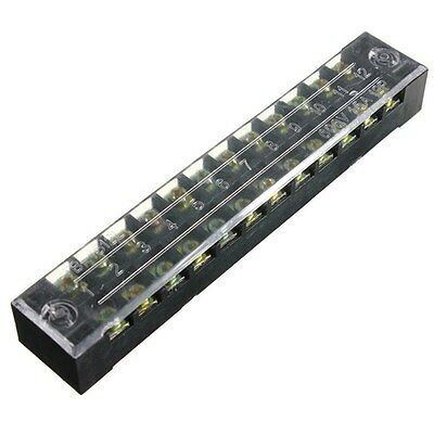 600V 15A Dual Row 12 Position Screw Terminal Electric Barrier Strip Block