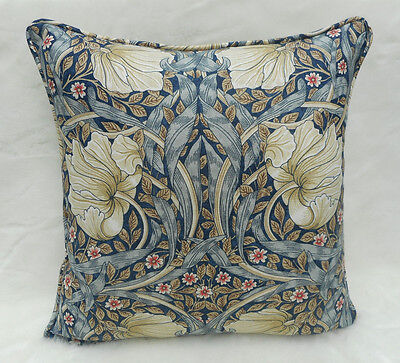 William Morris Fabric Cushion Cover 'Pimpernel' Indigo/Hemp - Linen Blend