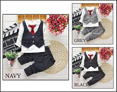 Baby Boys 2-piece Checkered Outfit Smart Set Party Top Trousers Tie 2 3 4 5yrs