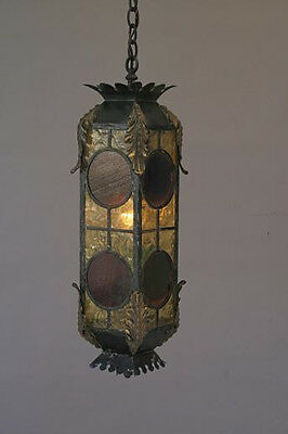 1920s Long Spanish Revival Iron & Stained Glass Pendant Lamp Lantern (3759)