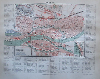 1888 BREMEN DEUTSCHLAND alter Stadtplan antique city map Lithographie