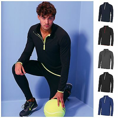 Mens Half Zip Long Sleeve Running Training Sports Gym Top T Shirt S–2XL 5 Colour