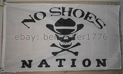 No Shoes Nation 3'x5' flag banner W1- Kenny Chesney Pirate Cowboy - USA shipper
