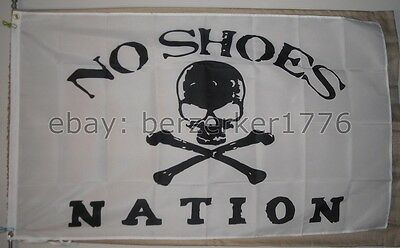 No Shoes Nation 3'x5' flag banner W2- Kenny Chesney Pirate Cowboy - USA shipper