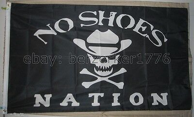 No Shoes Nation 3'x5' flag banner B1- Kenny Chesney Pirate Cowboy - USA shipper
