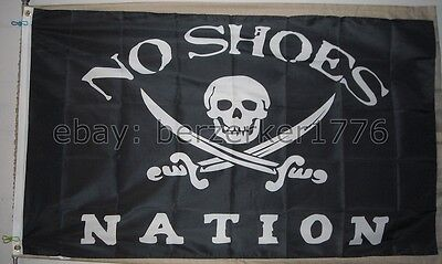 No Shoes Nation 3'x5' flag banner B3- Kenny Chesney Pirate Cowboy - USA shipper
