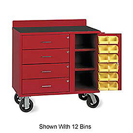 Vari-Tuff Mobile Utility Bin Cabinet With 4 Drawers & 24 Bins