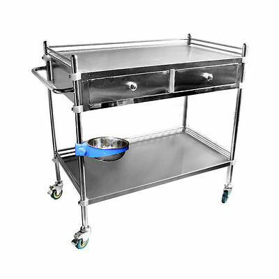 Stainless Steel 2 Layers Serving Medical Dental Cart Trolley 2 Drawers 1 Bucket