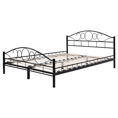 twin size wood slats steel bed frame platform headboard footboard bedroom black
