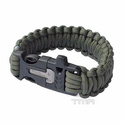 Paracord Survival Bracelet Camping With Whistle Flint Fire Starter - Green