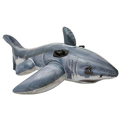 Intex Inflatable Great White Shark Rider Ride On Beach Toy Lilo Swim Pool Flo...