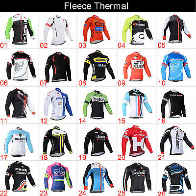 Winter Warm Fleece Thermal Cycling Jersey Long Sleeve MTB Bike Clothing Outfits