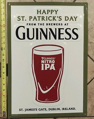 "Guinness Nitro IPA Happy St. Patrick's Day Tin Sign Embossed NEW & FS 20"" x 14"""