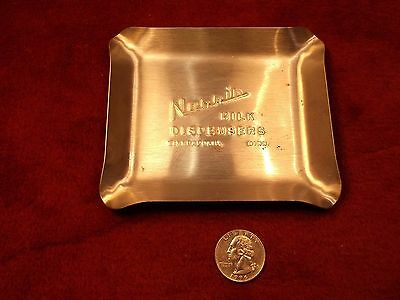 "Neat Old Vtg Steel ""trinket"" Tray, Advertising ""norris Milk Dispensers"" Minn, Mn"