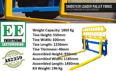 1800KG pallet forks AS 2350 compliant. Call EVERYTHING EARTHMOVING