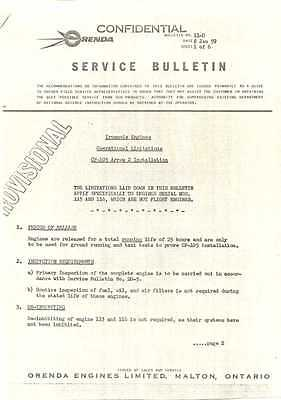 MKartifacts CF-105 Avro Arrow Orenda Iroquois 2 Engine Operation Limits Bulletin