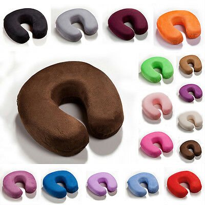 New U-Shape Memory Foam Pillow Cushion Neck Flight Travel Car Soft Case Cover