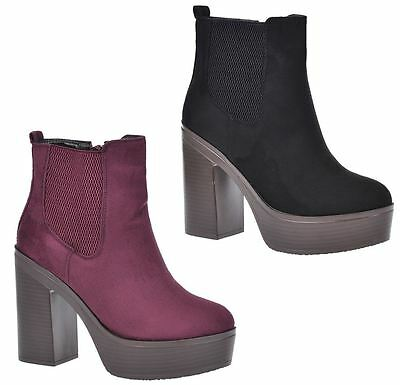 1c1ff1f5caf JOSIE WOMENS CHUNKY Heel Platform Ankle Chelsea Style Boots Biker ...