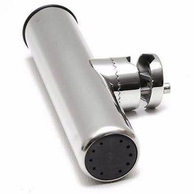 """Stainless Clamp on Fishing Rod Holder for Rails 7/8"""" to 1""""-AM"""