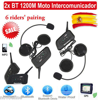 2x V6 1200M Intercomunicador Interphone Bluetooth Auriculares Interfono Moto ES