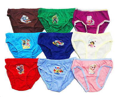 New Pack Of 6 Underwear Undies Panties Girl Boy Kids Spiderman Frozen Ninja Cars