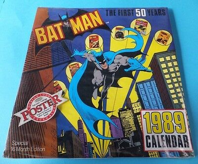 Vintage Sealed Batman Calendar 1989 New With 3D Poster And Glasses !! Rare