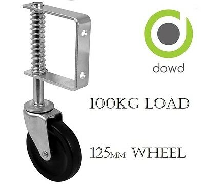 "HEAVY DUTY Spring Loaded Gate Castor 125mm (5"") hard black rubber wheel 100kg"