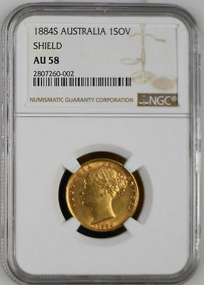 1884 Queen Victoria Australia Sydney Mint Gold Sovereign Coin NGC AU 58