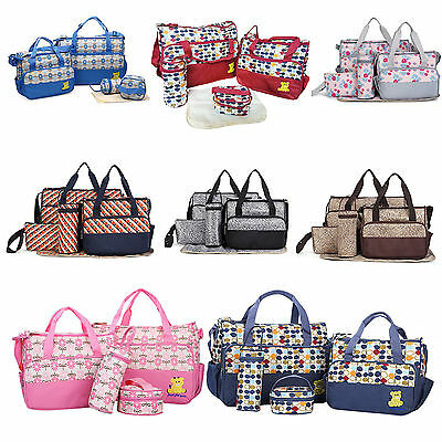 5pcs Waterproof Baby Nappy Diaper Changing Bag Travel Bottle Holder