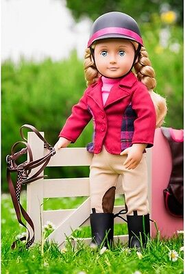 Our Generation Deluxe 18in Doll Lily Anna Girls Toy Pink Dress Riding Clothes
