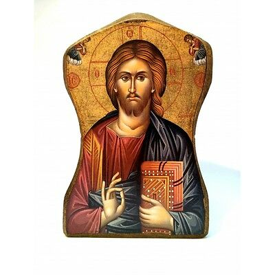 Icon of Jesus Christ, Greek Russian Christian Orthodox, Made of Wood MP1