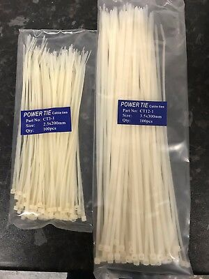 Job Lot 1,000 plastic cable ties various sizes White Clear Neutral zip Ties