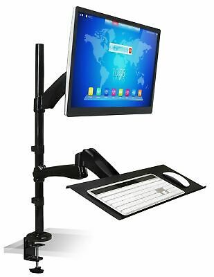 """Mount-It! Single Monitor Sit-Stand Desk Mount with Keyboard Tray 18-27"""" Screens"""