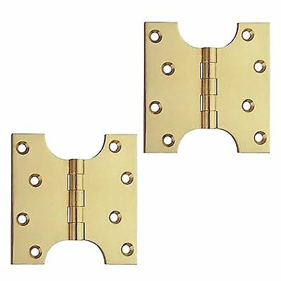 """A Pair Of 4"""" Parliament Butt Hinges in Polished Brass (PB234)"""