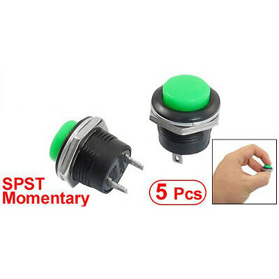5 x Momentary SPST NO Green Round Cap Push Button Switch AC 6A/125V 3A/250V AD
