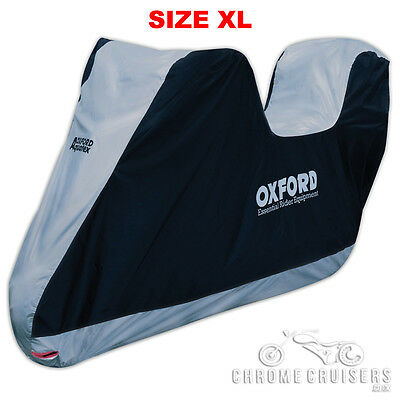 Oxford Motorcycle Aquatex Waterproof Rain Cover with Top Box / Sissy Bar- XLARGE