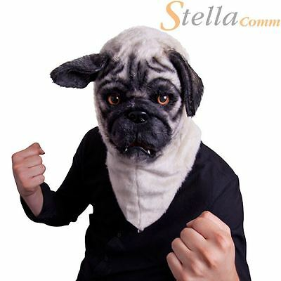 Mr Pug Mask With Moving Mouth Dog Head Mask Plush Faux Far Fancy Dress