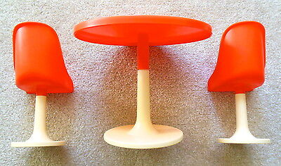 Vintage 1970's Mod Era Barbie Doll - Large Orange Round Table & 2 Chairs
