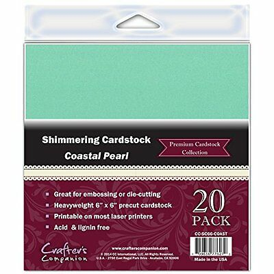 Crafter's Companion Shimmering Cardstock, 6 by 6-Inch, Coastal Pearl, 20-Pa