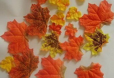 50 Artificial Fall Maple Leaves in Varied Colors