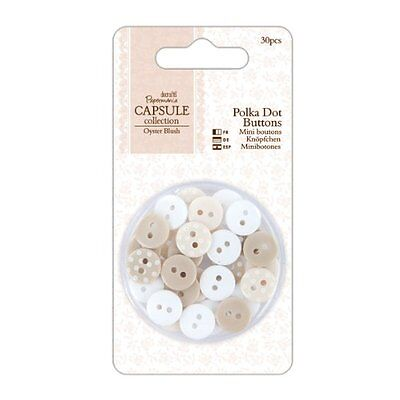 Papermania Oyster Blush Buttons 30/Pkg-Polka Dot